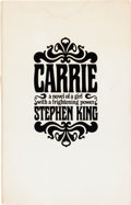 Books:Horror & Supernatural, Stephen King. Carrie. Garden City: Doubleday & Company,Inc., 1974. First edition, Advance Review Copy. Octavo. ...