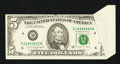 Error Notes:Foldovers, Fr. 1980-D $5 1988A Federal Reserve Note. Very Fine.. ...
