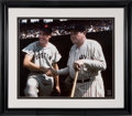 Baseball Collectibles:Photos, 1990's Ted Williams with Babe Ruth Signed Oversized PhotographDisplay....