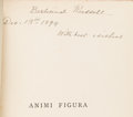 Books:Signed Editions, John Addington Symonds. Animi Figura. London: Smith, Elder,1882. First Edition. Inscribed by the author on the ...