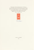 Books:Fine Press & Book Arts, [Officina Bodoni]. T. S. Eliot. Four Quartets. London: Faber& Faber, [1960]. Limited to 290 numbered copies pri...