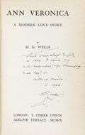 Books:Literature 1900-up, H. G. Wells. INSCRIBED. Ann Veronica. A Modern LoveStory. London: T. Fisher Unwin, 1909....