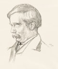 "Books:Original Art, [H. G. Wells]. Unknown Artist, signed ""W. R."" Original PortraitureSketch of H. G. Wells. [no place: 1904]...."