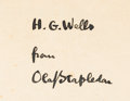 Books:Science Fiction & Fantasy, [H. G. Wells]. Olaf Stapledon. INSCRIBED. Star Maker. London: Methuen & Co., [1937]....