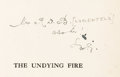 Books:Literature 1900-up, H. G. Wells. INSCRIBED. The Undying Fire. A ContemporaryNovel. London: Cassell and Company, [1919]....
