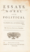 Books:Religion & Theology, [David Hume]. Essays Moral and Political. The secondedition, corrected. Edinburgh: A. Kincaid, 1742. Second edi...