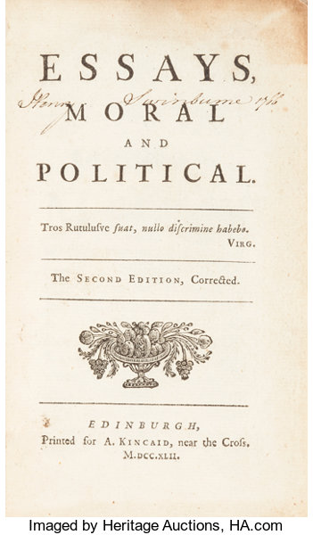 david hume essays moral and political the second edition  lot  booksreligion  theology david hume essays moral and political