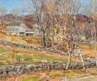 GEORGE GARDNER SYMONS (American, 1863-1930) Farmstead and Stone Fence Oil on canvasboard 14-3/4 x