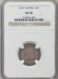 Bust Dimes: , 1837 10C AU58 NGC. NGC Census: (14/80). PCGS Population (19/50).Mintage: 359,500. Numismedia Wsl. Price for problem free N...