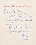 Autographs:U.S. Presidents, John F. And Jacqueline Kennedy Card Signed....