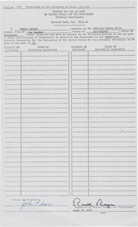 Ronald Reagan Consent for Use of Name as Second Choice for the Presidency Form Signed