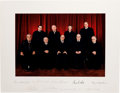 Autographs:Statesmen, Rehnquist Supreme Court Oversized Color Photograph Signed by AllNine Justices....