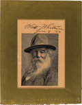 Autographs:Authors, Walt Whitman Engraved Portrait Signed....