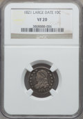 Bust Dimes: , 1821 10C Large Date VF20 NGC. NGC Census: (3/161). PCGS Population(24/247). Mintage: 1,186,512. Numismedia Wsl. Price for ...