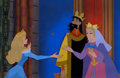Animation Art:Production Cel, Eyvind Earle Sleeping Beauty Princess Aurora, King Stephan, and Queen Leah Pan Production Cels and Master Backgrou... (Total: 4 Original Art)