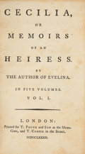 Books:Literature Pre-1900, [Francis Burney]. Cecilia. London: T. Payne and Son, and T.Cadell, 1782. ... (Total: 5 Items)