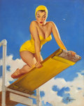 Pin-up and Glamour Art, GIL ELVGREN (American, 1914-1980). High and Shy, Brown &Bigelow calendar illustration, 1950. Oil on canvas. 30 x 24in....