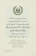 Books:Americana & American History, [John F. Kennedy] Invitation to Ceremonies Attending theInauguration of President Kennedy and Vice President Johnson.Janua...
