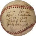 Autographs:Baseballs, 1970 Jesse Haines Single (Double) Signed Baseball withNotations....
