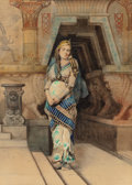 Fine Art - Painting, Russian, DOSITEO (Italian, 19th Century). Egyptian Maiden. Watercoloron paper. 20-1/4 x 14-3/4 inches (51.4 x 37.5 cm). PROPER...