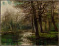 Paintings, AMERICAN SCHOOL (19th Century). Spring Swamp. Oil on canvas. 11 x 14-1/8 inches (27.9 x 35.9 cm). Signed lower right: ...