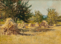 MARY ELIZABETH PRICE (American, 1877-1965) Golden Haystacks in Sunlight, circa 1900 Oil on canvas