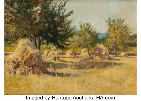 Mary Elizabeth Price (American, 1877-1965) Golden Haystacks in Sunlight, circa 1900 Oil on canvas 13 x 18 inches (33....