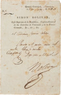 Autographs:Non-American, Simon Bolivar Document Signed...