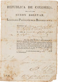 Autographs:Non-American, Simon Bolivar Military Appointment Signed....