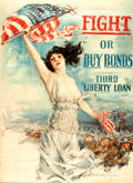 "Books:Prints & Leaves, [World War I]. Howard Chandler Christy. Third Liberty Loan Poster,""Fight or Buy Bonds."" [Boston], 1917. ..."