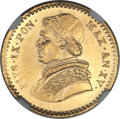 Italy:Papal States, Italy: Papal States. Pius IX gold 2-1/2 Scudi 1861-R (Year XV) MS66NGC,...