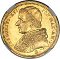 Italy:Papal States, Italy: Papal States. Gregory XVI gold 5 Scudi 1835-B (Year V) MS62 NGC,...