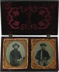 Military & Patriotic:Civil War, Two Magnificent Confederate 1/6th Plate Ambrotypes of Alabama Brothers Housed Together In Scarce Double Union Case. In a suc...