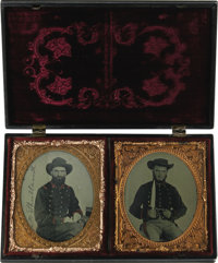 Two Magnificent Confederate 1/6th Plate Ambrotypes of Alabama Brothers Housed Together In Scarce Double Union Case. In a...