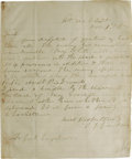 "Autographs:Military Figures, Important Stonewall Jackson-to-James Longstreet Autograph letter Signed ""T.J. Jackson"", one page, 7"" x 8.25"", ""Hdqrs 2..."