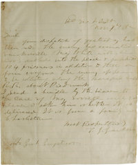 """Important Stonewall Jackson-to-James Longstreet Autograph letter Signed """"T.J. Jackson"""", one page, 7"""" x 8..."""