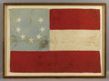 "Military & Patriotic:Civil War, Confederate First National Flag with Seven Star ""Crescent"" Pattern, Captured at the Fall of New Orleans. 48"" x 33"" and accom..."
