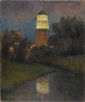 Texas:Early Texas Art - Impressionists, ROLLA TAYLOR (1871-1970). Tower Life Building. Oil onburlap. 24in. x 20in.. Signed lower left. Once the tallest build...