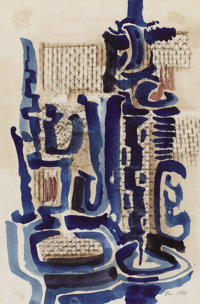 BROR UTTER (1913-1993) Untitled Watercolor and pastel 17.5in. x 12in. Signed lower right  In this composition, Bror Ut...