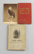 """Photography:Cabinet Photos, Wisconsin's Civil War Eagle Grouping. Company """"C"""" of thehard-fighting 8th Wisconsin Infantry adopted an eagle fledgling at..."""
