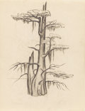 Texas:Early Texas Art - Drawings & Prints, OTIS DOZIER (1904-1987). Caddo Cypress, 1934. Pencil. 11in.x 8.5in.. Estate stamp lower right. Early in his career, O...