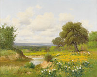 PORFIRIO SALINAS (1910-1973) Untitled Coreopsis and White Prickly Poppy Oil on canvas 24in. x 30in. Signed lower left &a...