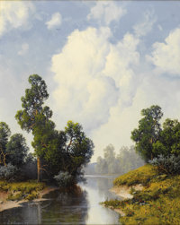 A. D. GREER (1904-1998) Untitled Landscape, 1992 Oil on canvas 30in. x 24in. Signed and dated lower left  This vertica...