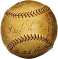 "Autographs:Baseballs, 1927 New York Yankees Team Signed Baseball. The most common answer to the question ""What is the greatest baseball team of a..."
