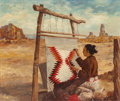Fine Art - Painting, American:Contemporary   (1950 to present)  , CLAIRE SHERMAN (American, 20th Century). Navajo Woman Weaving, 1949. Oil on board. 19-7/8 x 24 inches (50.5 x 61.0 cm). ...