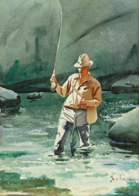 GERARD CURTIS DELANO (American, 1890-1972) The Trout Pool Watercolor on paper 20 x 14 inches (50