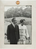 Autographs:Non-American, Emperor Hirohito and Empress Nagako Photograph Signed in a SilverPresentation Frame...
