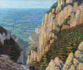 Fine Art - Painting, American:Modern  (1900 1949)  , WALTER KING STONE (American, 1875-1949). Rocky Cliffs overValley. Oil on canvas. 24-1/2 x 29-1/2 inches (62.2 x 74.9cm...