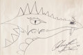 "Books:Original Art, Christopher Paolini (b. 1983). Original Drawing Signed by Paoliniof ""Saphira,"" the Main Character's Dragon in E... (Total: 2Items)"