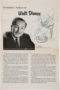 Walt Disney Signed Page from a Program for the 1966 Tournament of Roses Parade